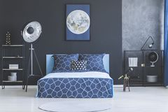 Dark blue bedroom interior Stock Photo