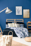 Dark blue bedroom royalty free stock photos