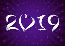 2019 A Happy New Year and Merry Christmas logotype. Dark blue bg 1, 2, 9 paper isolated trendy colored numbers, 0 as a heart and stars. Celebrating seasonal stock illustration