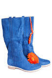Dark blue boot and  red flower Royalty Free Stock Photography