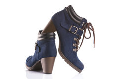 Dark blue boots with bootlaces Royalty Free Stock Photo