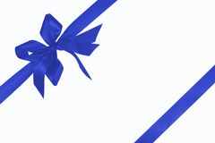 Dark blue bow with ribbon Stock Images