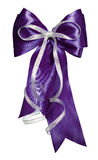 Dark blue bow with silver ribbon made from silk Royalty Free Stock Image
