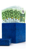 Dark blue box with euros Stock Images