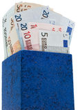Dark blue box with euros Royalty Free Stock Image