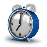 Dark blue bracket clock an alarm clock Stock Photo