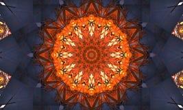 Dark blue and bright orange mandala Art. With a beautiful repetitive pattern vector illustration