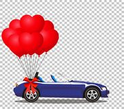 Dark blue cabriolet car with balloons. Dark blue modern opened cartoon cabriolet car with bunch of red helium heart shaped balloons with festive bow isolated on Royalty Free Stock Image