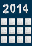 Dark Blue Calendar  For 2014. Dark Blue Calendar made in paper cuted style Royalty Free Stock Image