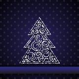 Dark blue card with fir tree Stock Photography