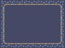 Dark blue card with a frame of a garland of multicolored luminous Christmas tree decorations and blue snowflakes vector frame. Dark blue card with a frame of a royalty free illustration