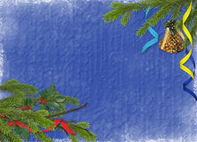 Dark blue card for the holiday with branches. And varicoloured ribbons Stock Photo