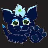 Dark blue cat. Print vector illustration Stock Photo