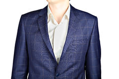Dark blue checkerboard suit coat, wedding attire groom, over whi Stock Photo