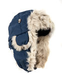 Dark blue children's fur cap Royalty Free Stock Photo