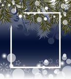Dark blue Christmas background with fir branches. Vector. Illustration Royalty Free Stock Photos