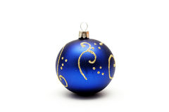 Dark blue christmas ball with gold pattern Stock Photos