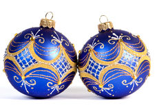 Dark blue christmas balls Stock Photo