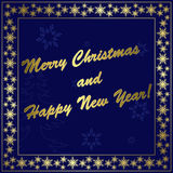 Dark blue christmas card with gold decor - eps Royalty Free Stock Photo