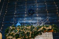 Dark blue Christmas Decor. Blue Christmas wreath royalty free stock photo