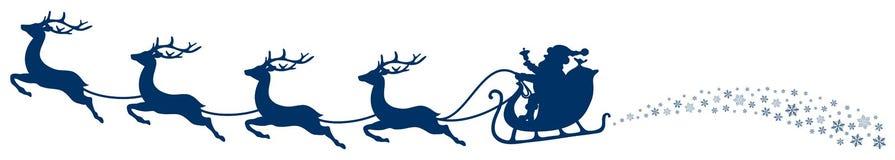 Christmas Sleigh Santa And Flying Reindeers Swirl Dark Blue stock illustration