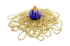 Dark blue Christmas sphere with a beads Royalty Free Stock Images