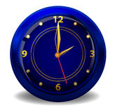 Dark blue clock. Isolated on the white background Stock Images