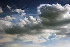 Dark blue clouds and sky Stock Image