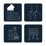 Dark blue color square buttons set silhouette with type of renewable energy. Vector illustration Royalty Free Stock Photo