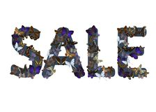 Dark blue color word `Sale` made of various colorful butterflies against white background. Marketing Stock Photography