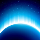 Dark blue colored space background with beautiful Stock Images