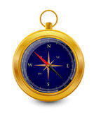Dark blue compass. Compass in copper frame on the white background Stock Images