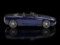 Dark blue convertible sports car - side view Stock Images