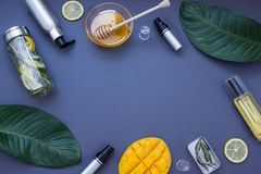 Dark blue cosmetic frame . Top view. Dark blue cosmetic frame with honey, mango, glasses and lemon. Top view Royalty Free Stock Photos