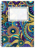 Dark blue cover zen floral design of the notebook Royalty Free Stock Images