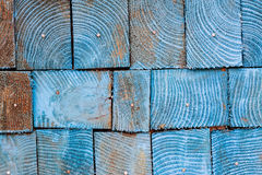 Dark blue cross section stacking square wood background Royalty Free Stock Photos
