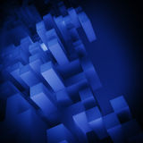 3D abstract cubes background. Dark blue cubes composition wallpaper Stock Photography