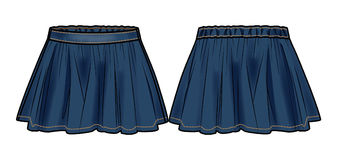 Dark blue denim flared skirt. Front and back view of a skirt vector illustration