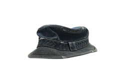 Dark blue denim hat isolated on white Royalty Free Stock Photos