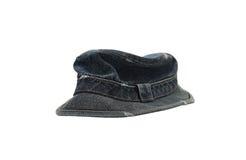 Dark blue denim hat isolated on white Royalty Free Stock Photos