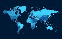 Dark blue detailed World map Stock Photos