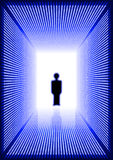 Dark blue digital corridor with man silhouette Royalty Free Stock Images