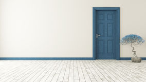 Dark blue door with wall. And parquet 3d model rendering Royalty Free Stock Photo