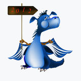 Dark blue dragon-New Year's a symbol of 2012 Stock Photos
