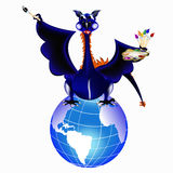 Dark blue dragon-New Year's a symbol of 2012 Royalty Free Stock Photo