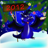 Dark blue dragon-New Year's a symbol of 2012. Dark blue dragon a symbol of new 2012 on east calendar vector illustration