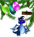 Dark blue dragon-New Year's a symbol of 2012. Dark blue dragon a symbol of new 2012 on east calendar stock illustration