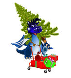 Dark blue dragon-New Year's a symbol of 2012. Dark blue dragon a symbol of new 2012 on east calendar Stock Image