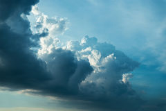 Dark blue dramatic clouds Stock Photography