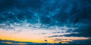 Dark Blue Dramatic Sky At Sunset Sunrise Background Stock Image